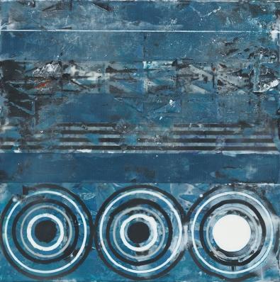 "Aftermath 12"" x 12"" Encaustic collage on cradled wood panel 2017"