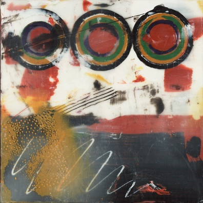 """6""""x6"""" Encaustic, pastel and graphite on cradled wood panel 2016"""