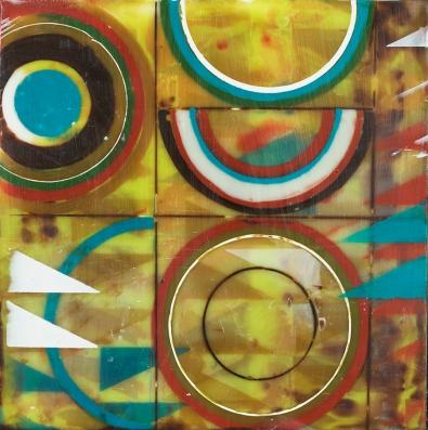 "6""x6"" Encaustic and pastel on cradled wood panel 2017"